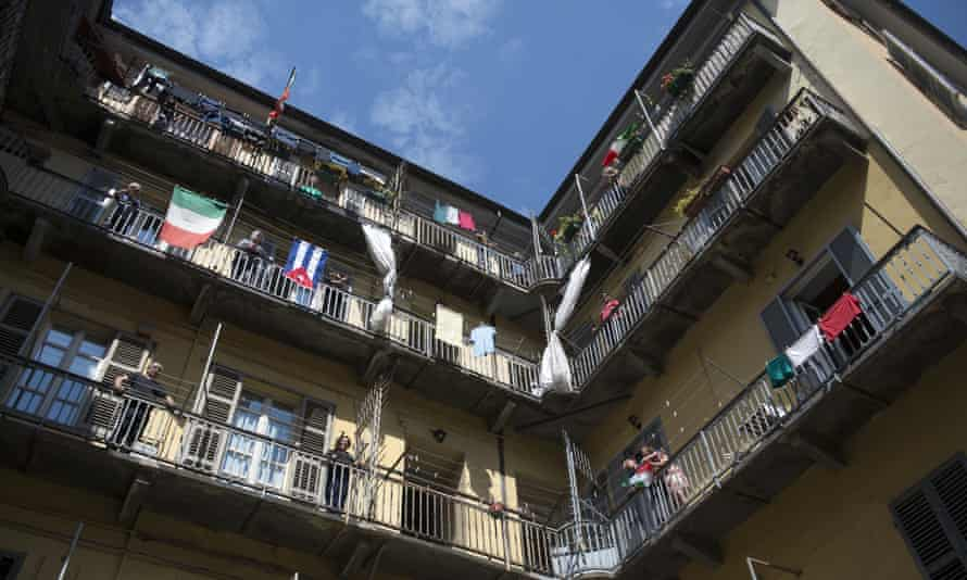 Turin residents sing Bella Ciao from their balconies for a Liberation Day flashmob in Italy. But neighbourly noise in lockdown may not always be welcome.