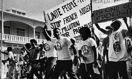 The Against Testing on Mururoa (ATOM) committee protests on the streets of Suva, Fiji, in the 1970s