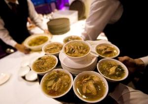 Shark-fin soup being served at a wedding banquet in Hong Kong