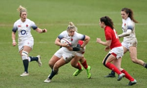 Marlie Packer carries the ball during the Six Nations match against Wales in 2018