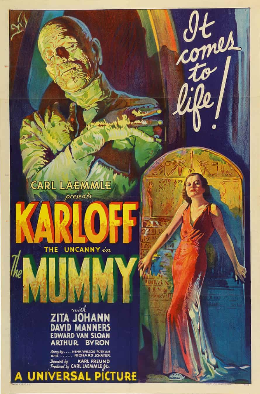 The original 1932 lithographic film poster designed by Karoly Grosz for The Mummy.