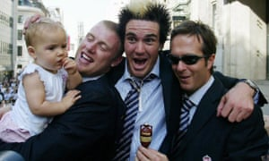 Andrew Flintoff and daughter Holly in the 2005 Ashes victory parade with Kevin Pietersen and captain Michael Vaughan.