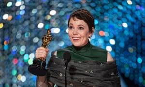 Olivia Colman accepts the best actress Oscar.