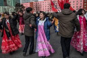 Women in traditional hanbok dresses in