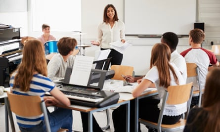 School students with a teacher in a music lesson.