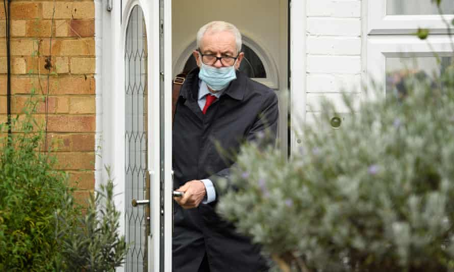 Jeremy Corbyn leaves his home on 29 October 2020, ahead of the publication of the Equality and Human Rights Commission report on antisemitism in the Labour party.