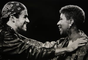 Aretha Franklin and George Michael performing during his Faith world tour in 1988.