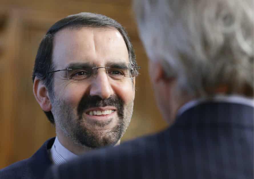 Iranian Ambassador to Russia Mehdi Sanai seen ahead of a meeting of Russian State Duma Chairman Sergei Naryshkin with Ali Larijani.