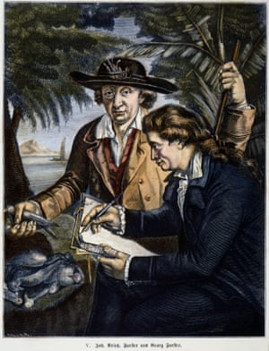 Johann Reinhold Forster and his son George in a wood engraving c1772.