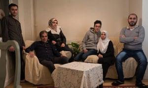 (Left to right) Huseen, Ahmad, Falak, Adnan, Saffa and Zead Batak at home in Narberth