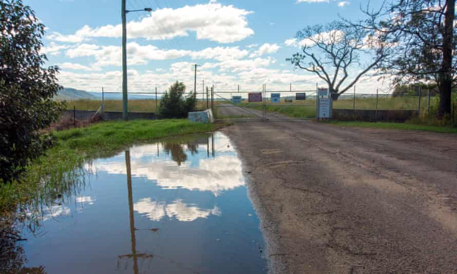 Entry gate to the Penrith Lakes property development after the 2021 NSW floods