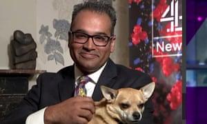 Channel 4 News presenter Krishnan Guru-Murthy presenting the programme from his home.