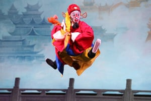Changchun, China An opera performer leaps during a production of Havoc in Heaven by the Changchun Dazhong theatre,