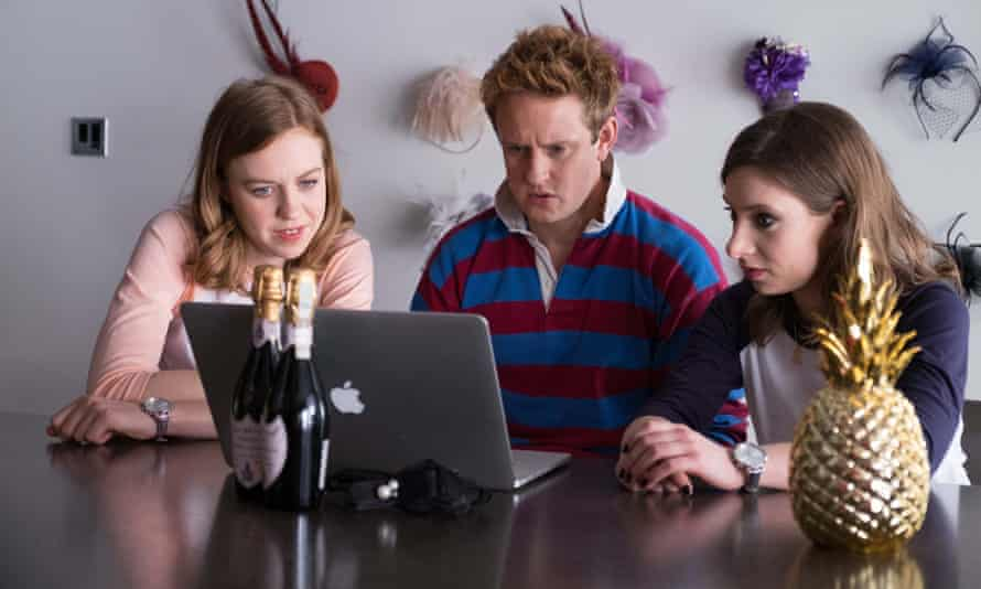 The Windsors: Princess Beatrice (Celeste Dring), Prince Harry (Richard Goulding) and Eugenie (Ellie White).
