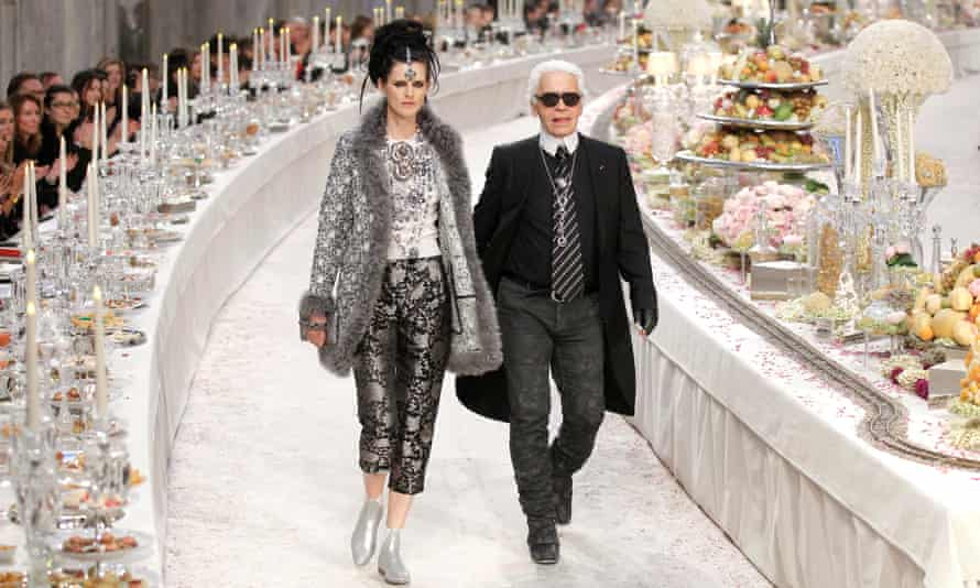 Stella Tennant with Karl Lagerfeld in 2011.