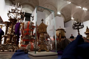 Historical artifacts saved from the fire are seen in a room at Paris city hall