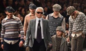 Karl Lagerfeld leads models wearing Fair Isle designs at Chanel's Metiers d'Art show in Rome.