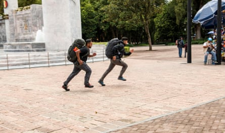 Race Across the World contestants Emon and Jamiul at Chapultepec Park, Mexico City.
