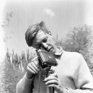 David Attenborough at work filming Zoo Quest in 1954