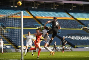 Burnley's Chris Wood misses a chance to score.