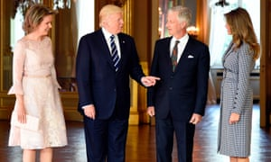 Queen Mathilde of Belgium, Donald Trump, King Philippe and Melania Trump at the Royal Palace in Brussels on Wednesday.