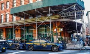 The scene outside the New York offices of Robert De Niro