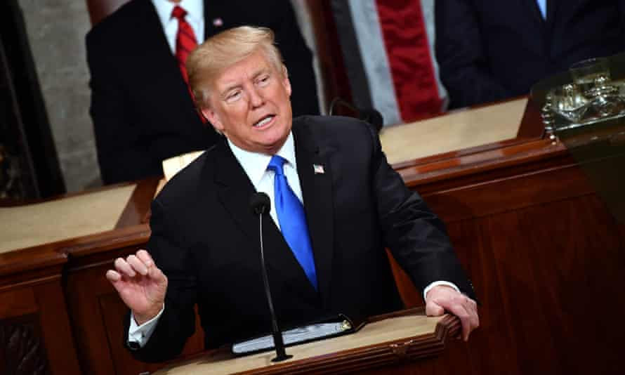 Donald Trump delivers the State of the Union address in Washington DC Tuesday.