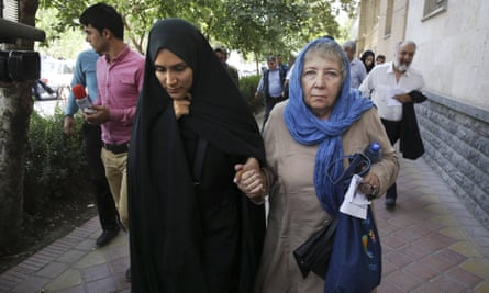 Mary Rezaian, mother of detained Washington Post correspondent Jason Rezaian, right, and his wife Yeganeh Salehi leave a court building in Tehran, Iran, on Monday.