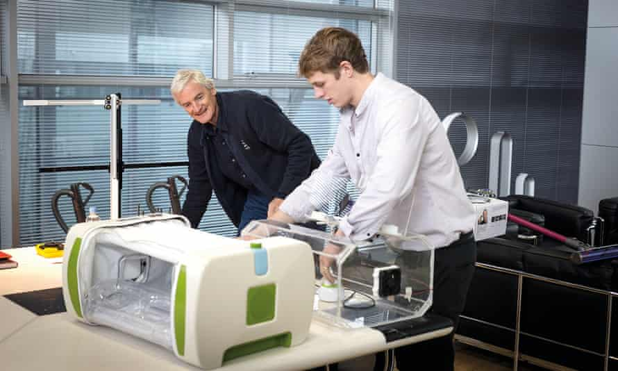 James Roberts of Mom Incubators, right, with James Dyson.
