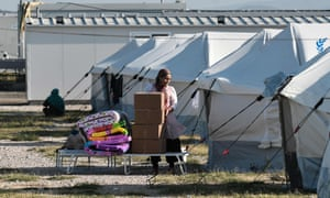 A woman arrives at the Nea Kavala camp in northern Greece on 3 September 2019