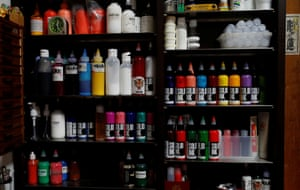 Bottles of ink at the studio of tattoo artist Shodai Horiren. 'When you get one tattoo, you want two, then three. Then if you start studying you find out there are more incredible designs, and then you gradually get obsessed,' says Horiren.