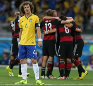 David Luiz looks on after Germany's fifth.