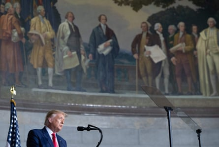Donald Trump speaks at the White House Conference on American History on Thursday.