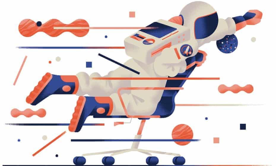 Illustration of astronaut on chair