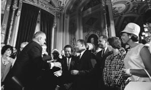 Lyndon Johnson meets Martin Luther King at the signing of the Voting Rights Act of 1965.