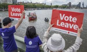 Vote Leave campaigners in London last June.