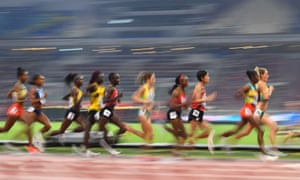 Athletes compete in the women's 10,000m final.