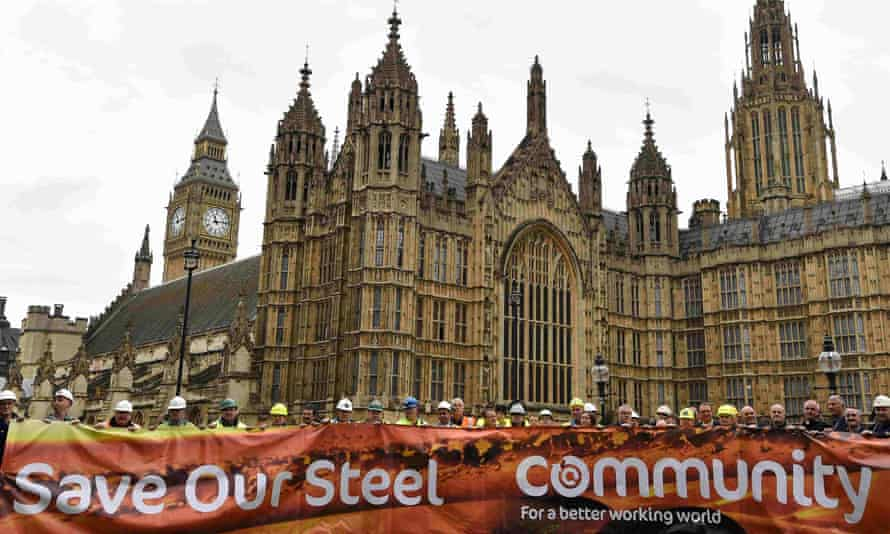 British steel workers protest outside of the Houses of Parliament in London, October 2015