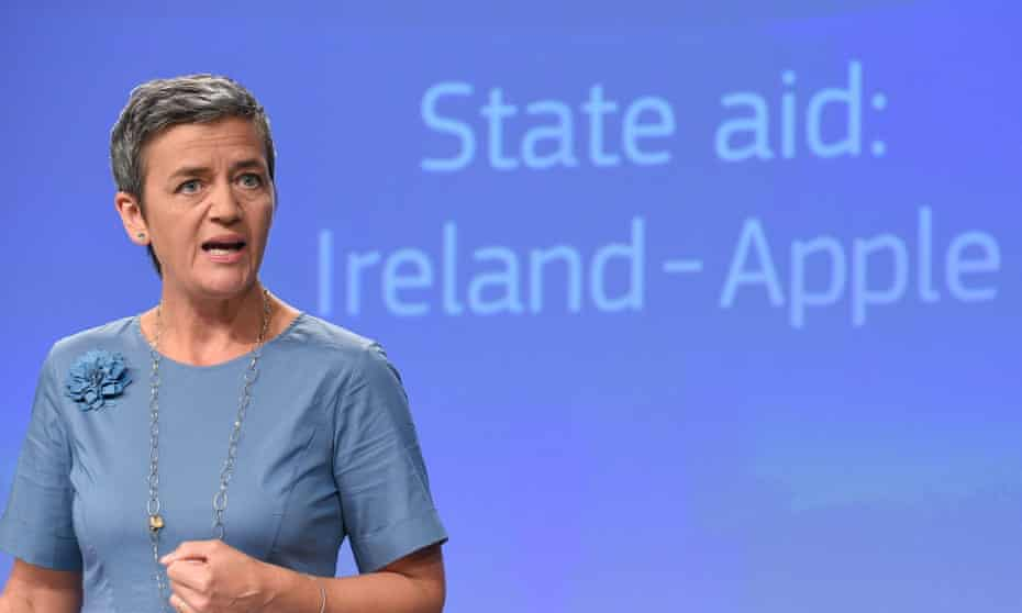Competition commissioner, Margrethe Vestager, delivers a European commission ruling on Apple's tax arrangement with Ireland in August.