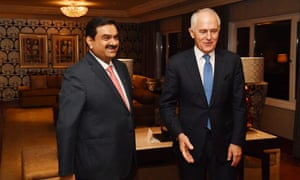 Malcolm Turnbull meets India's Adani Group founder and chairman Gautam Adani, in New Delhi, telling him Carmichael coalmine funding application will be assessed on merit.