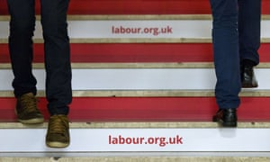 Delegates on the stairs at a Labour party conference