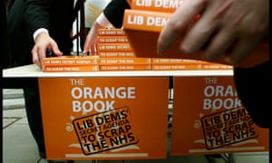 A mock launch of the Liberal Democrat 'Orange book' by Labour MP Ruth Kelly in 2004.