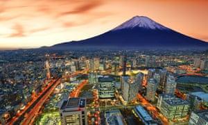 Yokohama and Mount Fuji.