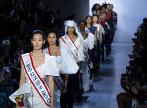 Models sporting 'Who gets to be American?' sashes for Prabal Gurung's spring/summer 20 collection