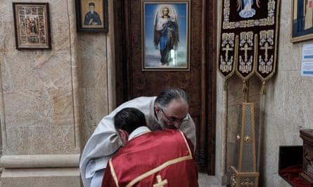 Priests in a Georgian Orthodox church in Tbilisi.