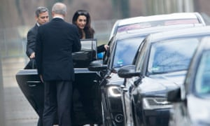 George and Amal Clooney leave the chancellery in Berlin after the meeting.