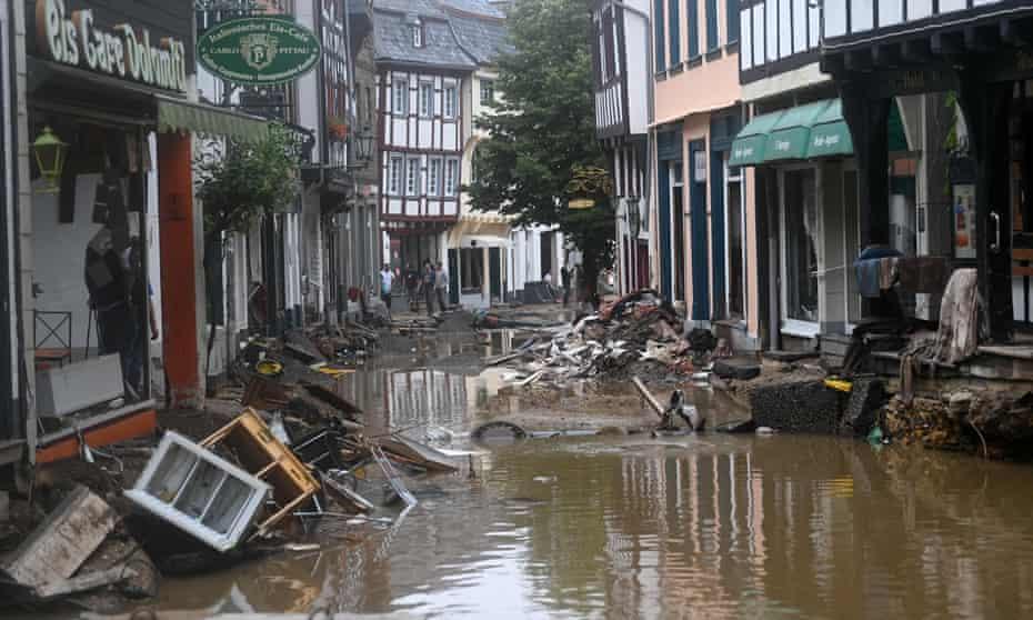A flooded street in Bad Münstereifel, western Germany