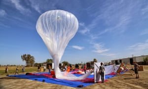 A Project Loon balloon being inflated. The  Google balloons, which beam down high-speed internet, are  aimed at bringing access to developing nations.