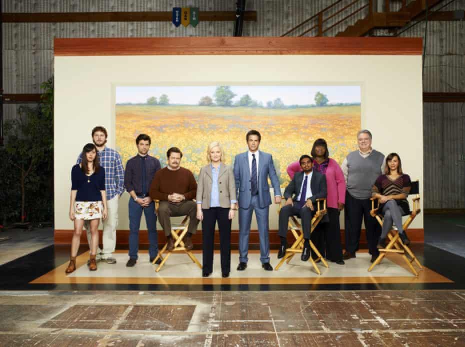 The team … from left, Aubrey Plaza, Chris Pratt, Adam Scott, Nick Offerman, Amy Poehler, Rob Lowe, Aziz Ansari, Retta, Jim O'Heir and Rashida Jones.