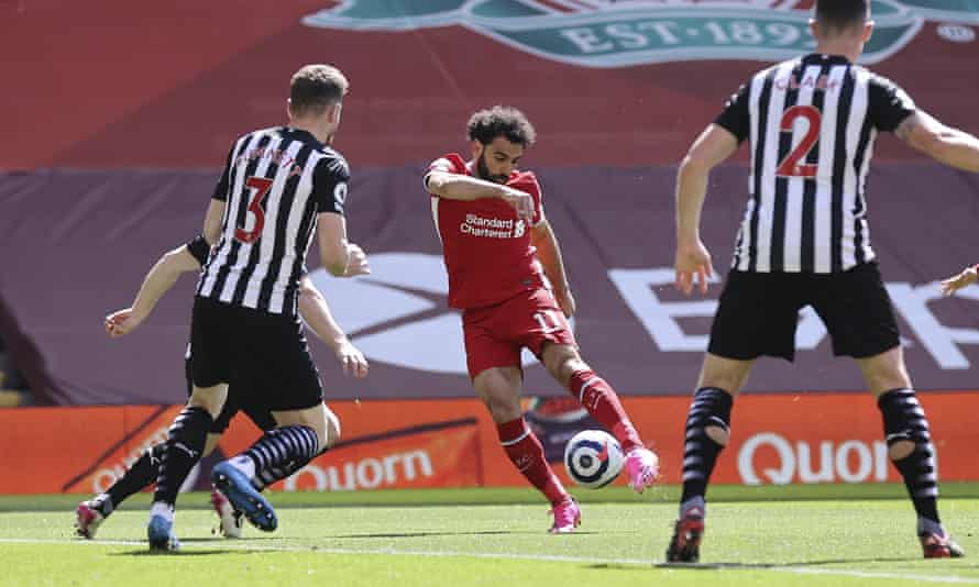 Mohamed Salah scores Liverpool's goal in the third minute, but his side frittered a string of chances to make victory safe.